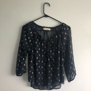 Abercrombie & Fitch Blouse Blue and Gold